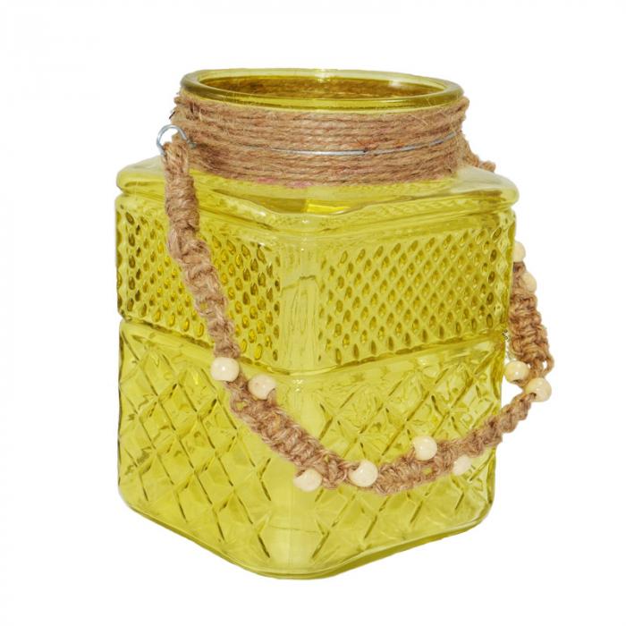 Suport din sticla pentru lumanari galben 1