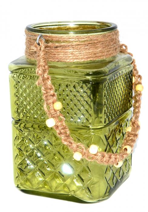 Suport din sticla pentru lumanari, Verde, 20cm x 12cm [3]