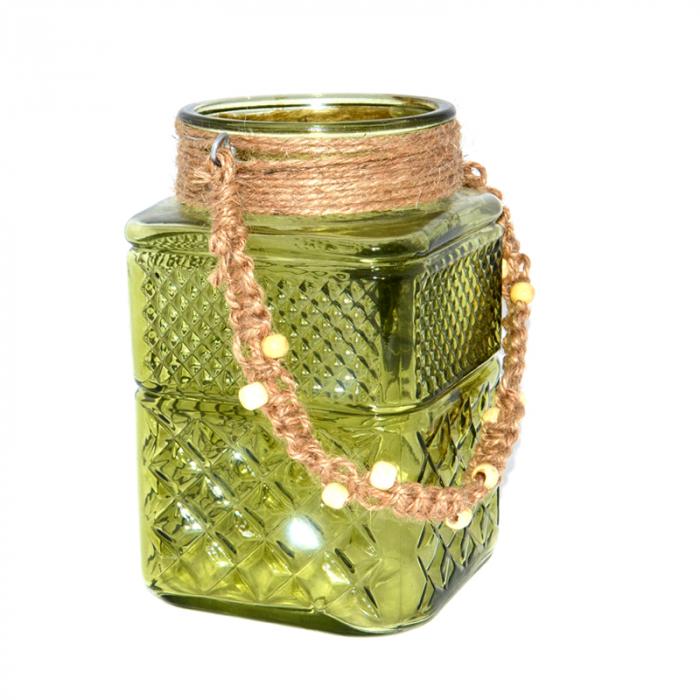 Suport din sticla pentru lumanari, Verde, 20cm x 12cm [1]
