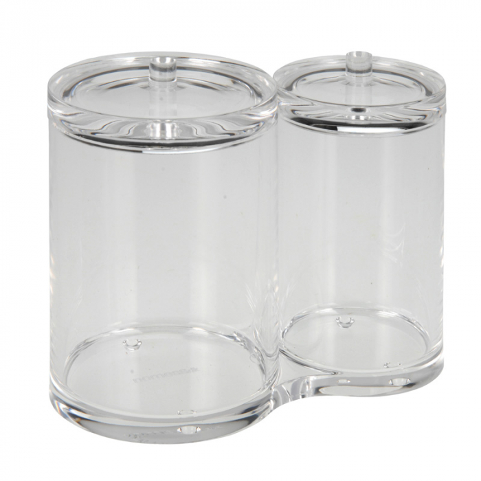 Recipient cu 2 compartimente, pentru dischete demachiante, NAGO, articolele de baie, Acril, D 6cm si 8.5cm, H11cm, Transparent 1