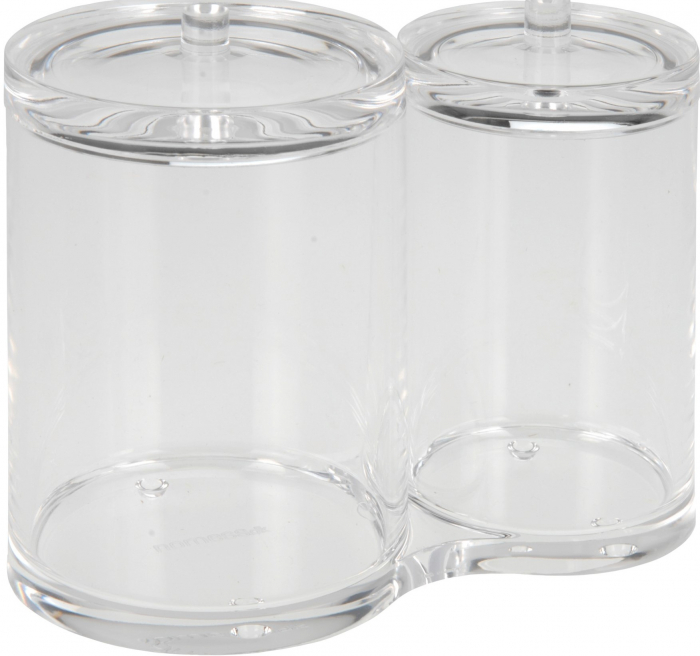 Recipient cu 2 compartimente, pentru dischete demachiante, NAGO, articolele de baie, Acril, D 6cm si 8.5cm, H11cm, Transparent 0