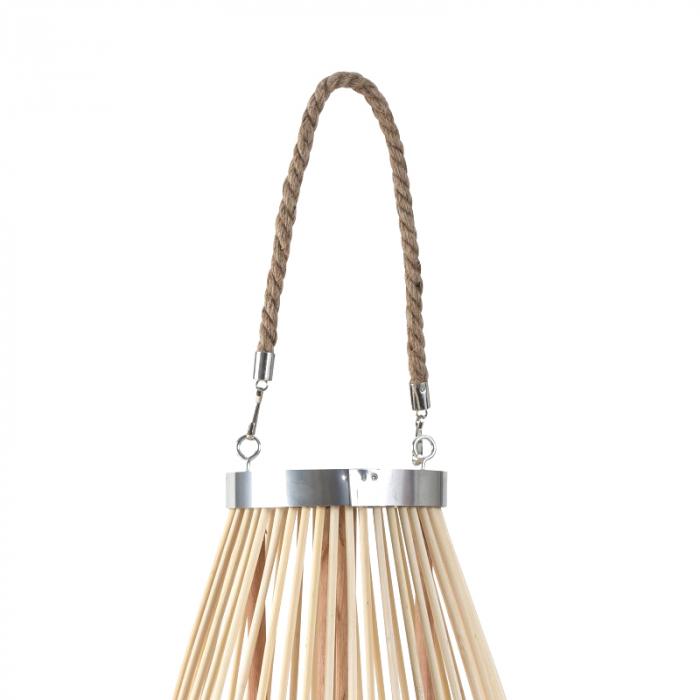 Suport Lumanare, cu maner si cilindru de sticla, Bambus si Metal, Natur, 50 cm [1]