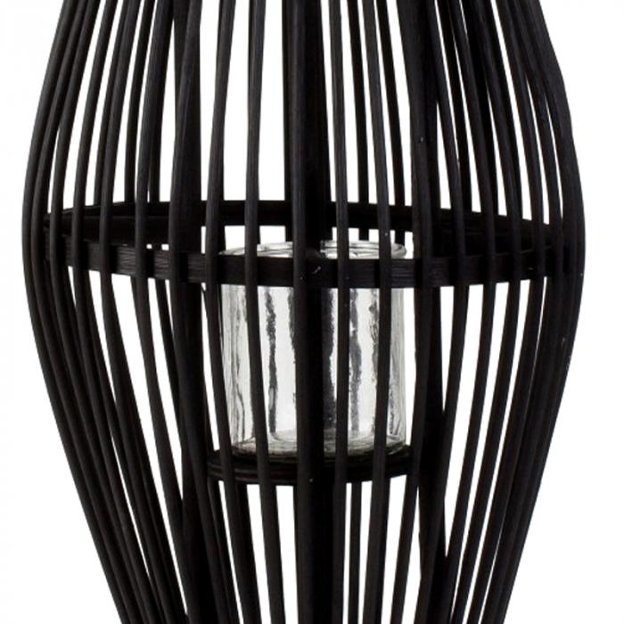 Suport Lumanare, cu maner si cilindru de sticla, bambus si metal, Negru, 50 cm 4