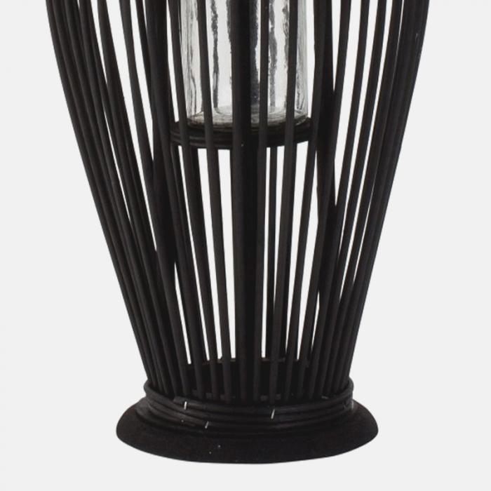 Suport Lumanare, cu maner si cilindru de sticla, bambus si metal, Negru, 50 cm 5