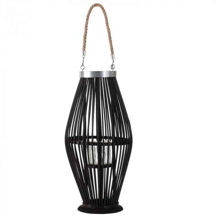 Suport Lumanare, cu maner si cilindru de sticla, bambus si metal, Negru, 50 cm 0