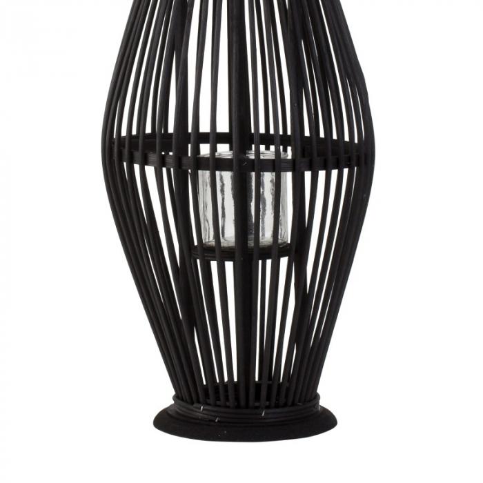 Suport Lumanare, cu maner si cilindru de sticla, bambus si metal, Negru, 50 cm 6