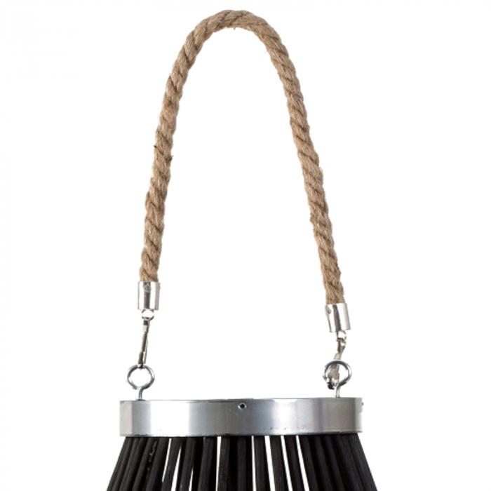Suport Lumanare, cu maner si cilindru de sticla, bambus si metal, Negru, 50 cm 2