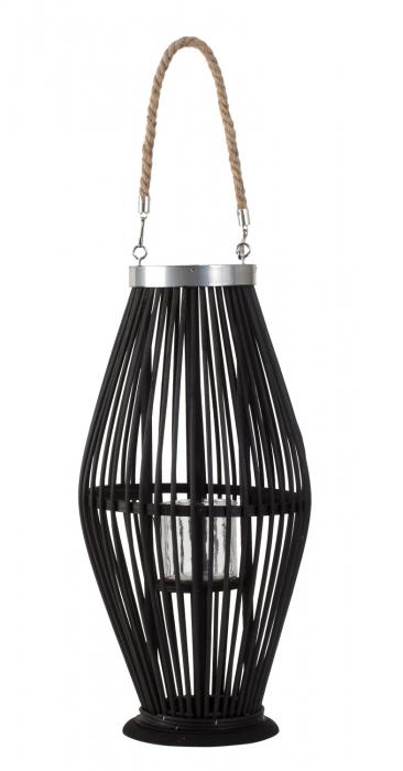 Suport Lumanare, cu maner si cilindru de sticla, bambus si metal, Negru, 50 cm 3