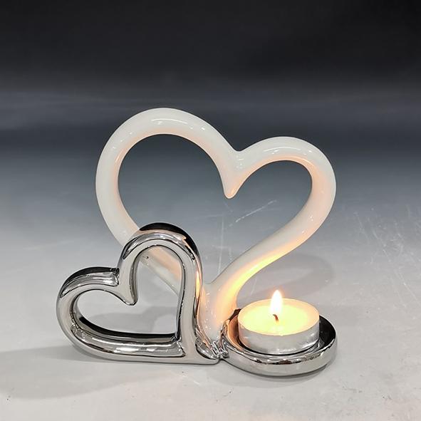 Suport lumanare, din ceramica, cu doua inimi, 11.5x13 cm 1