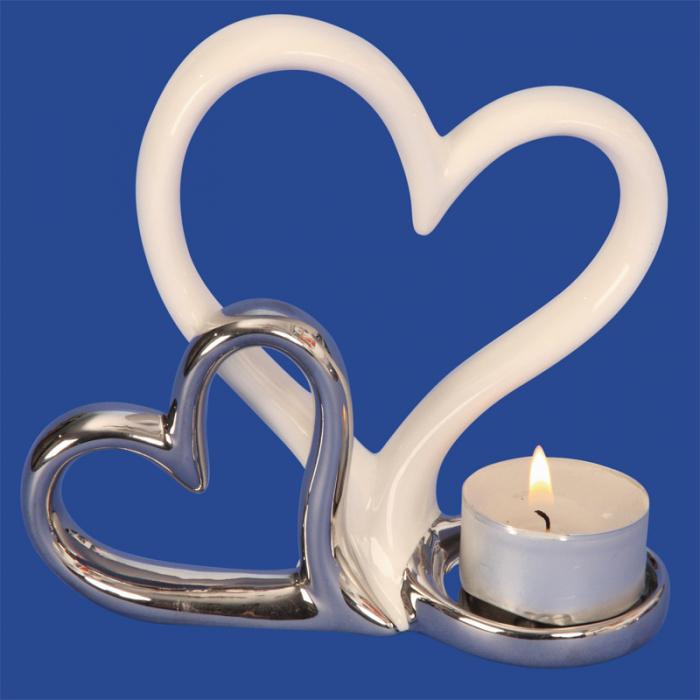 Suport lumanare, din metal, cu doua inimi, 11.5x13 cm 1