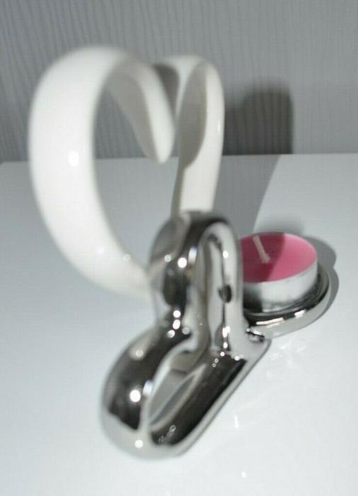 Suport lumanare, din metal, cu doua inimi, 11.5x13 cm 3