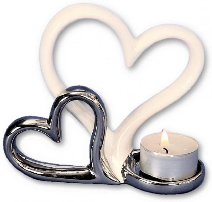 Suport lumanare, din metal, cu doua inimi, 11.5x13 cm 4
