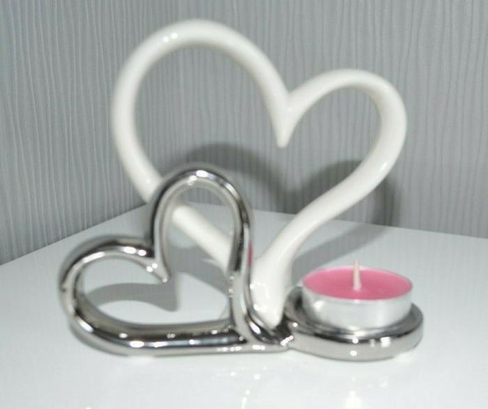 Suport lumanare, din metal, cu doua inimi, 11.5x13 cm 2