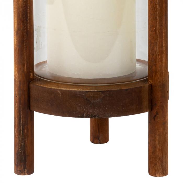 Suport Lumanare din Sticla si Lemn, Maro, 22.5 cm 3