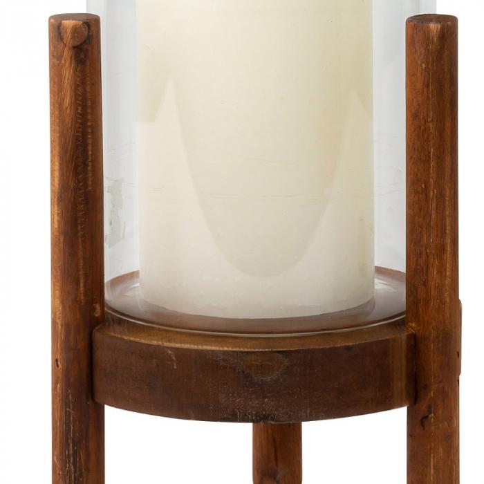 Suport Lumanare din Sticla si Lemn, Maro, 22.5 cm 4