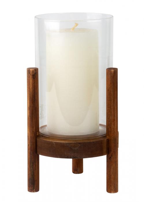 Suport Lumanare din Sticla si Lemn, Maro, 22.5 cm 1