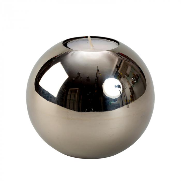 Suport lumanare sfera din otel inoxidabil diametru 10 cm 0