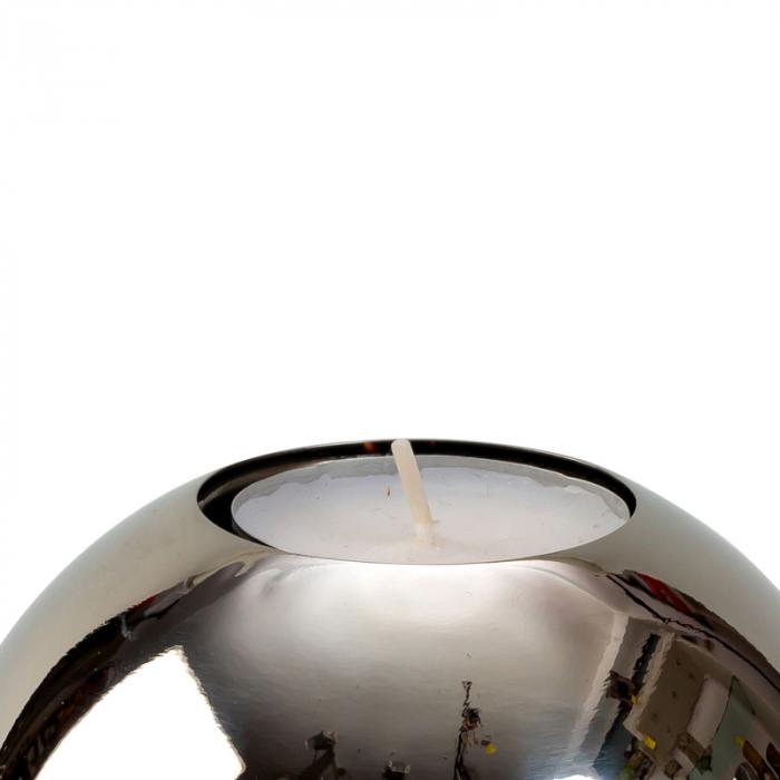 Suport lumanare sfera din otel inoxidabil diametru 10 cm 2