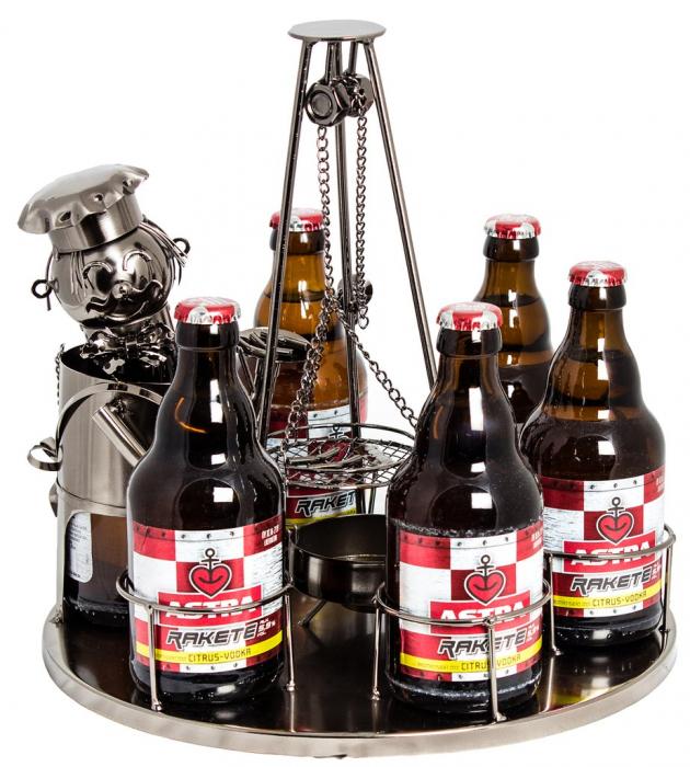 Suport metal 6 sticle pe tava cu scrumiera, diametru 30 cm [1]