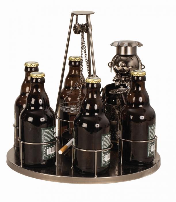 Suport metal 6 sticle pe tava cu scrumiera, diametru 30 cm [2]