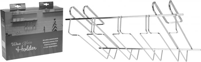 Suport din otel cromat, pentru pahare cu picior, 4 randuri, 34x25x8 cm [4]