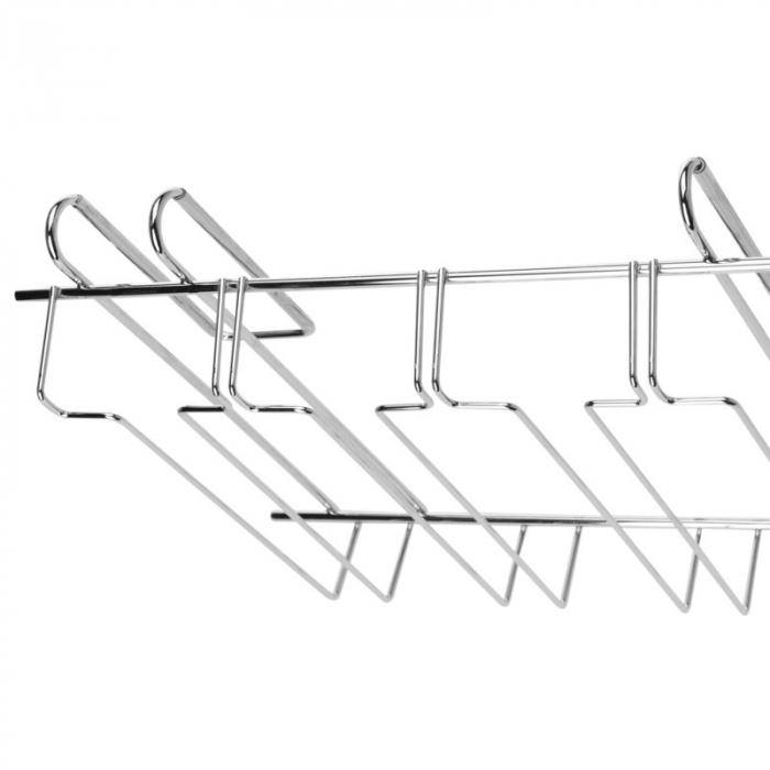 Suport din otel cromat, pentru pahare cu picior, 4 randuri, 34x25x8 cm [1]