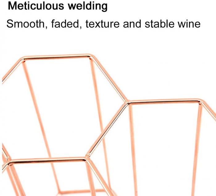 Suport metal fagure pentru 6 sticle vin culoare roz auriu  29Χ21Χ28 cm 8