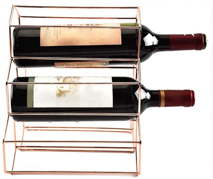 Suport metal fagure pentru 6 sticle vin culoare roz auriu  29Χ21Χ28 cm 3