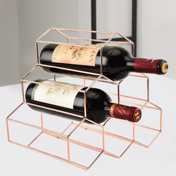 Suport metal fagure pentru 6 sticle vin culoare roz auriu  29Χ21Χ28 cm 2