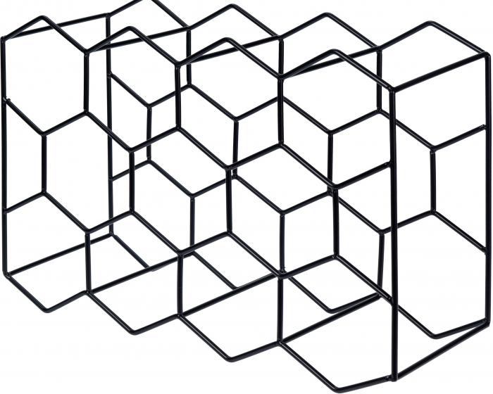 Suport pentru Sticlede Vin,model fagure din metal lucios, capacitate 11 Sticla, 44.5x29.5x15 cm, G1.1kg, Negru 1