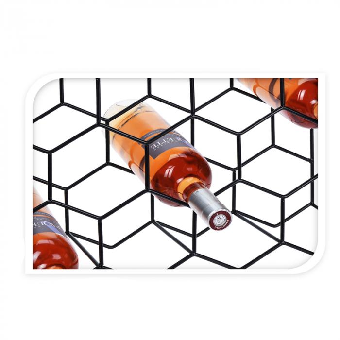 Suport pentru Sticlede Vin,model fagure din metal lucios, capacitate 11 Sticla, 44.5x29.5x15 cm, G1.1kg, Negru 3