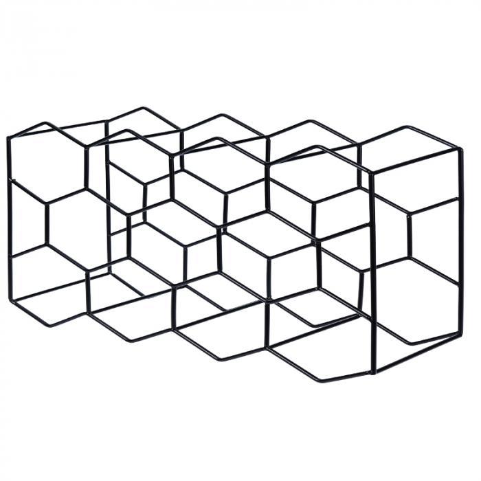 Suport pentru Sticlede Vin,model fagure din metal lucios, capacitate 11 Sticla, 44.5x29.5x15 cm, G1.1kg, Negru 2