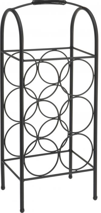 Suport metalic pentru Sticla Vin, model rastel, capacitatea 6 sticle, Negru,52x22x16cm G1.14kg 2