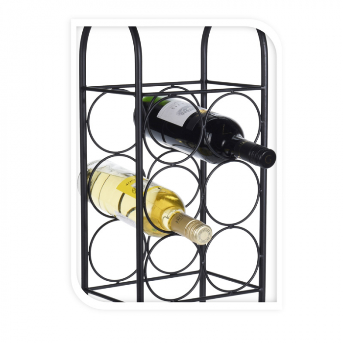 Suport metalic pentru Sticla Vin, model rastel, capacitatea 6 sticle, Negru,52x22x16cm G1.14kg 1