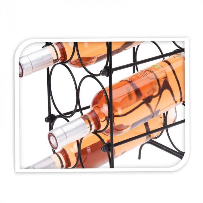 Suport pentru Sticle de Vin, metal Negru, capacitate 6 Sticle, 18x30x20cm, G 620g 4
