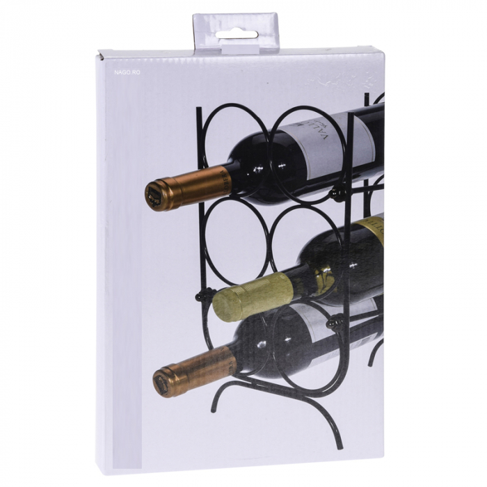 Suport pentru Sticle de Vin, metal Negru, capacitate 6 Sticle, 18x30x20cm, G 620g 6
