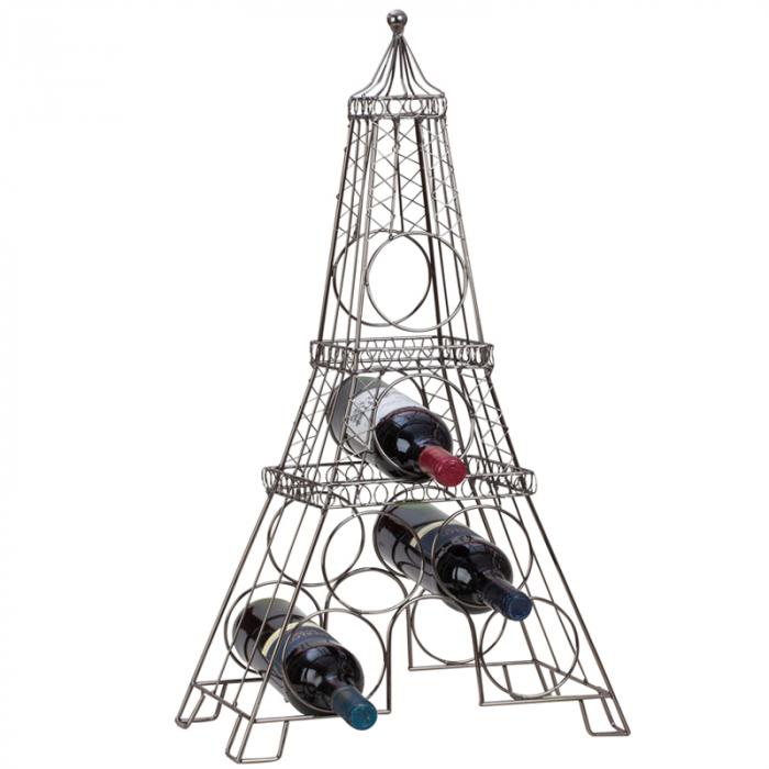 Suport din metal, pentru 6 Sticle Vin, model Turnul Eiffel, 72,5 cm 1