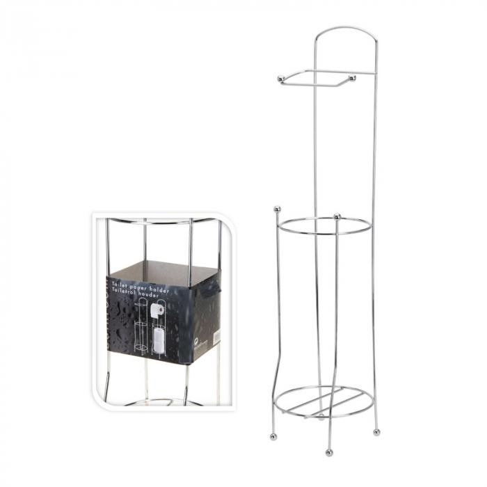 Suport metalic, pentru hartie igienica si role rezerva pe un piedestal, 15,5 x 15,5 x 66 cm 4