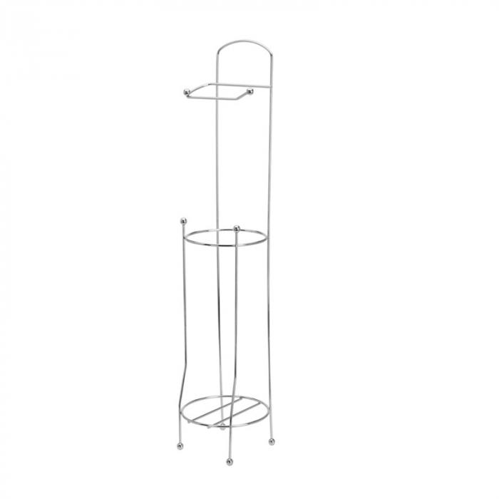 Suport metalic, pentru hartie igienica si role rezerva pe un piedestal, 15,5 x 15,5 x 66 cm 0