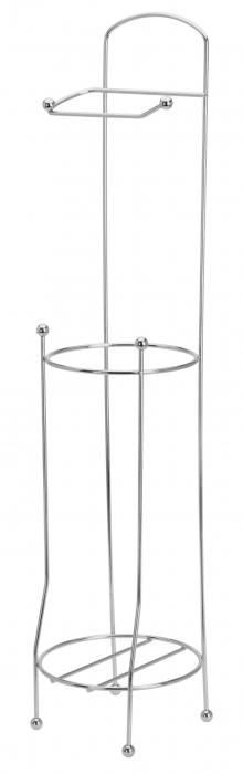 Suport metalic, pentru hartie igienica si role rezerva pe un piedestal, 15,5 x 15,5 x 66 cm 1