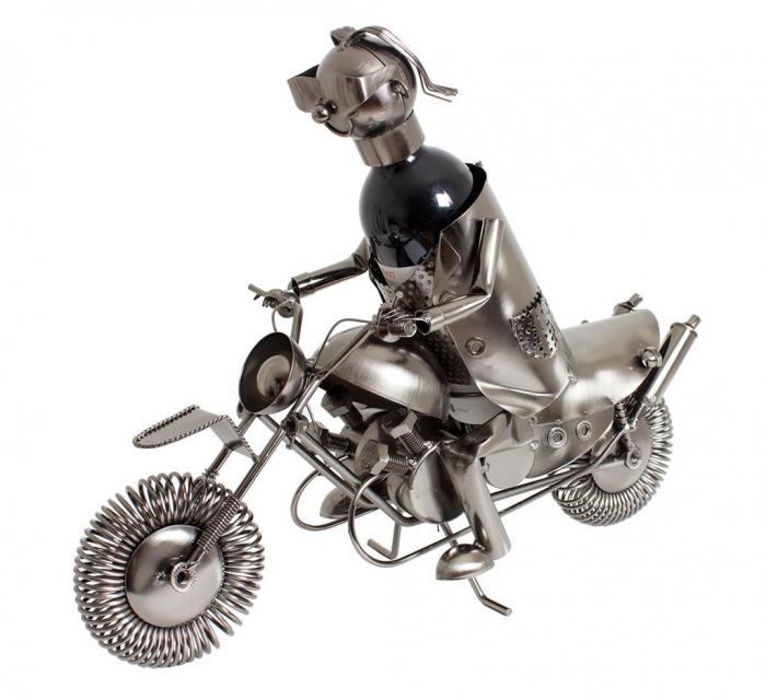 Suport metal pentru sticla vin, model motociclist, 36x 47 cm 0
