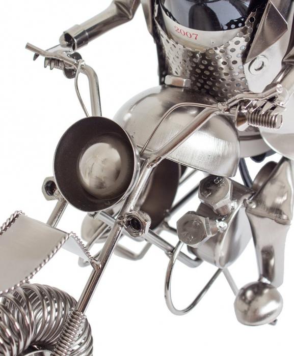 Suport metal pentru sticla vin, model motociclist, 36x 47 cm 2