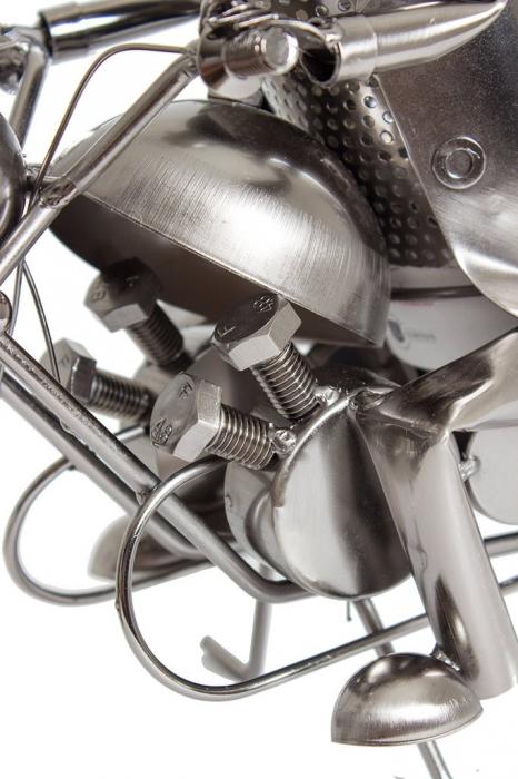 Suport metal pentru sticla vin, model motociclist, 36x 47 cm 3