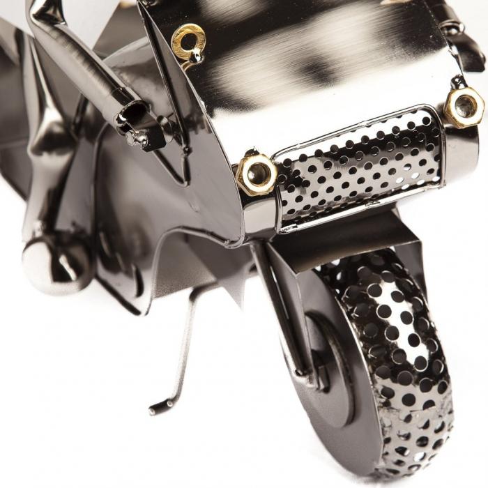 Suport metal pentru sticla vin motociclist H 35 cm 4