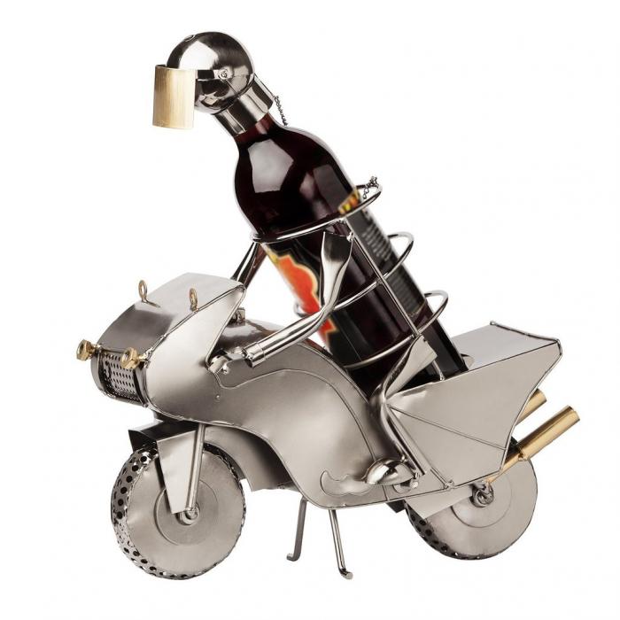 Suport metal pentru sticla vin motociclist H 35 cm 6