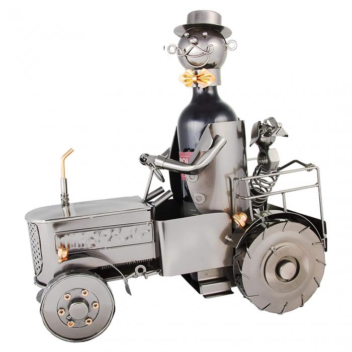 Suport metal pentru sticla vin, tractorist cu catel pe tractor 35,5x34 cm [0]