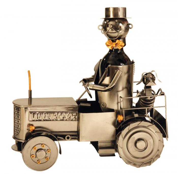 Suport metal pentru sticla vin, tractorist cu catel pe tractor 35,5x34 cm [7]