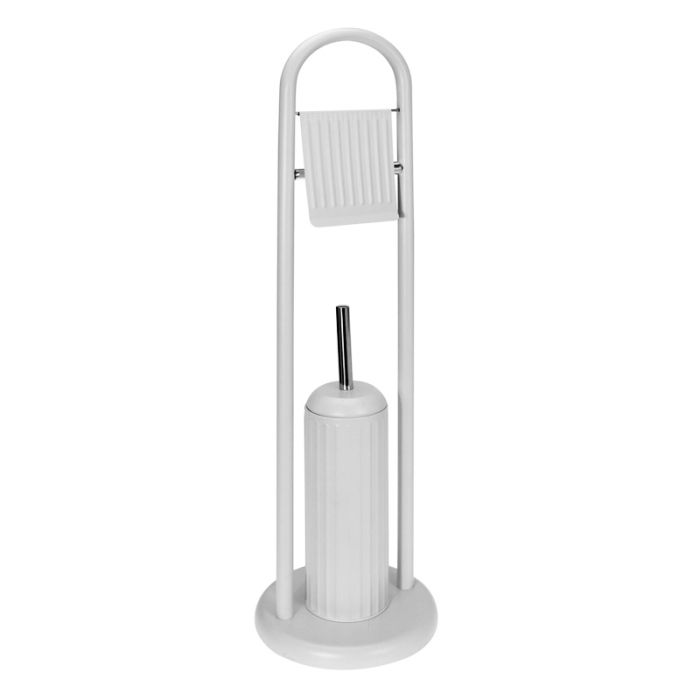 Suport metalic perie WC si hartie igienica, 20 cm x 80 cm, 2.3 kg, Alb 1