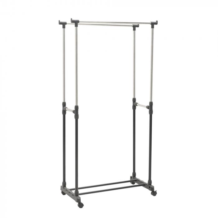 Suport metal si plastic pentru haine culoare negru 80Χ41Χ93/155 cm 4