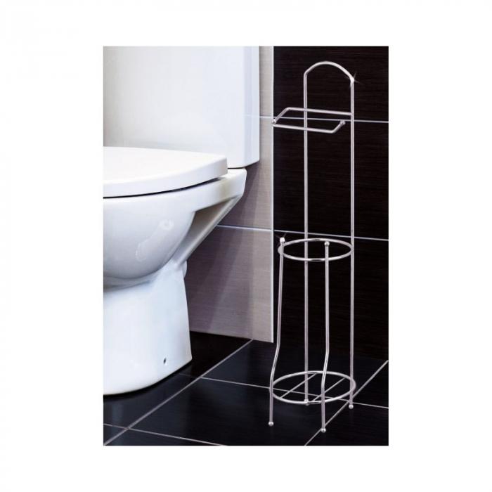 Suport metalic, pentru hartie igienica si role rezerva pe un piedestal, 15,5 x 15,5 x 66 cm 5